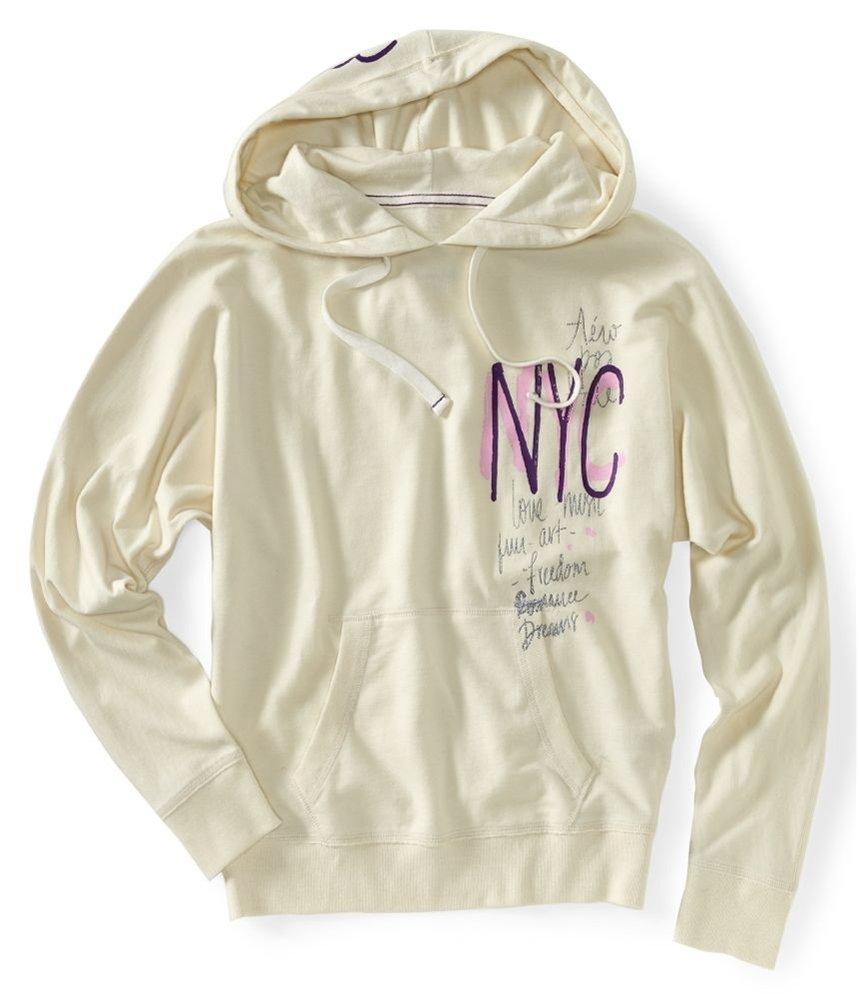 Aeropostale Womens Nyc Pullover Hoodie Sweatshirt 283 L by Aeropostale