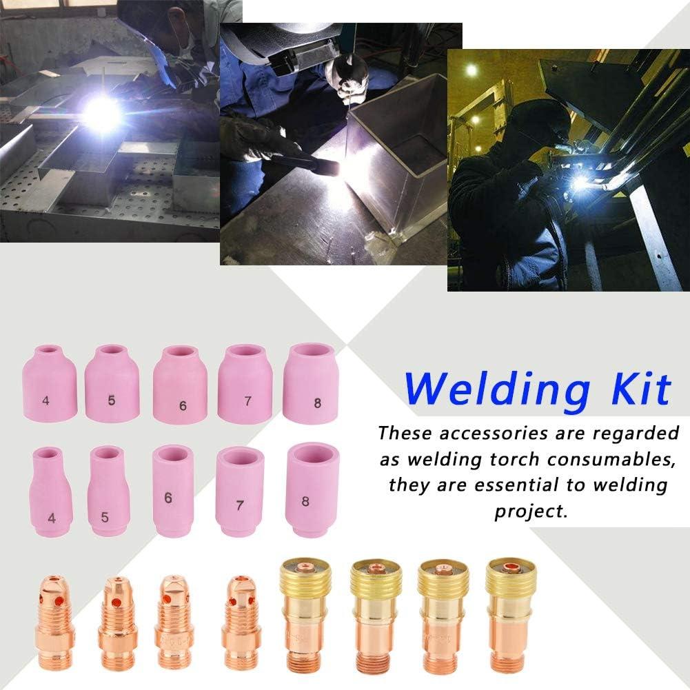 Kit de soldadura Boquillas de al/úmina Copas Kit de accesorios de pinzas para soplete de soldadura Lente de gas para soldadura 49 piezas Kit de lentes de gas