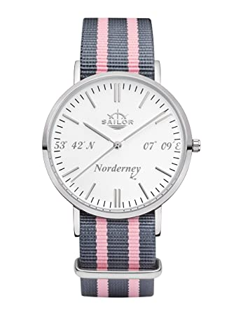 Sailor Damen Armbanduhr Limited Edition, Modell Norderney In Silber/Weiß  Mit Nylon Armband |