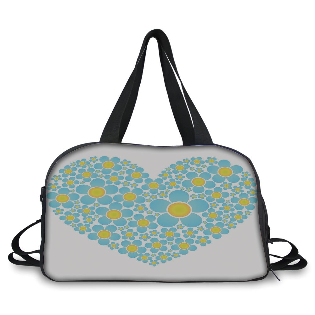 Trunk,Yellow and Blue,Heart Shape Full of Cute Daisy Flowers Romantic Valentines Wedding,Light Blue Marigold,Picture Print