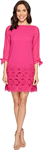 Tahari by ASL Womens Floral Embroidered Hem Sleeved Shift Dress