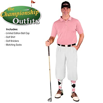 b6f5bacc Golf Knickers Mens Outfit - White Microfiber, Limited Edition Ball Cap,  Over-The