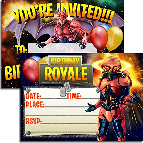 12 Battle Royale Birthday Invitations + 12 Envelopes ✮ Double Sided ✮ 5x7 Invite Cards ✮ Video Game Party ()