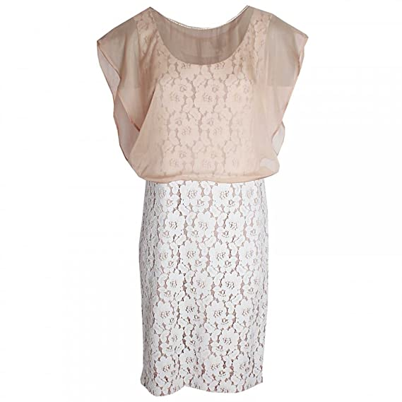 7ddb5c7a02e163 Paola Collection Lace Shift Dress With Chiffon Overlay 16 Taupe:  Amazon.co.uk: Clothing