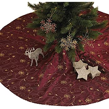 Kurt adler 50 inch burgundy ribbon trees tree for Maroon christmas tree decorations