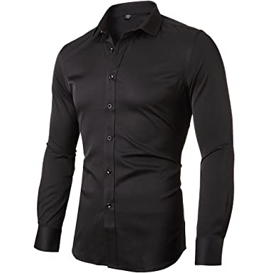 Mens Dress Shirt Slim Fit Long Sleeves Elastic Bamboo Fiber Button ...
