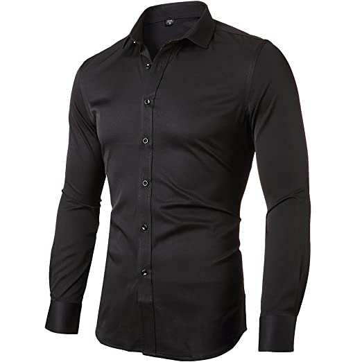 INFLATION Mens Bamboo Fiber Dress Shirts Slim Fit Solid Long Sleeve Casual Button Down Shirts, Elastic Formal Shirts For Men at Amazon Mens Clothing store ...