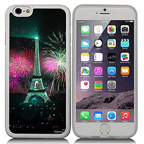 New Apple iPhone 6 s 4.7-inch CocoZ® Case Classic Paris Eiffel Tower Beautiful Night view TUP Material Case (Transparent TPU& Eiffel Tower - Apple Coral Handle