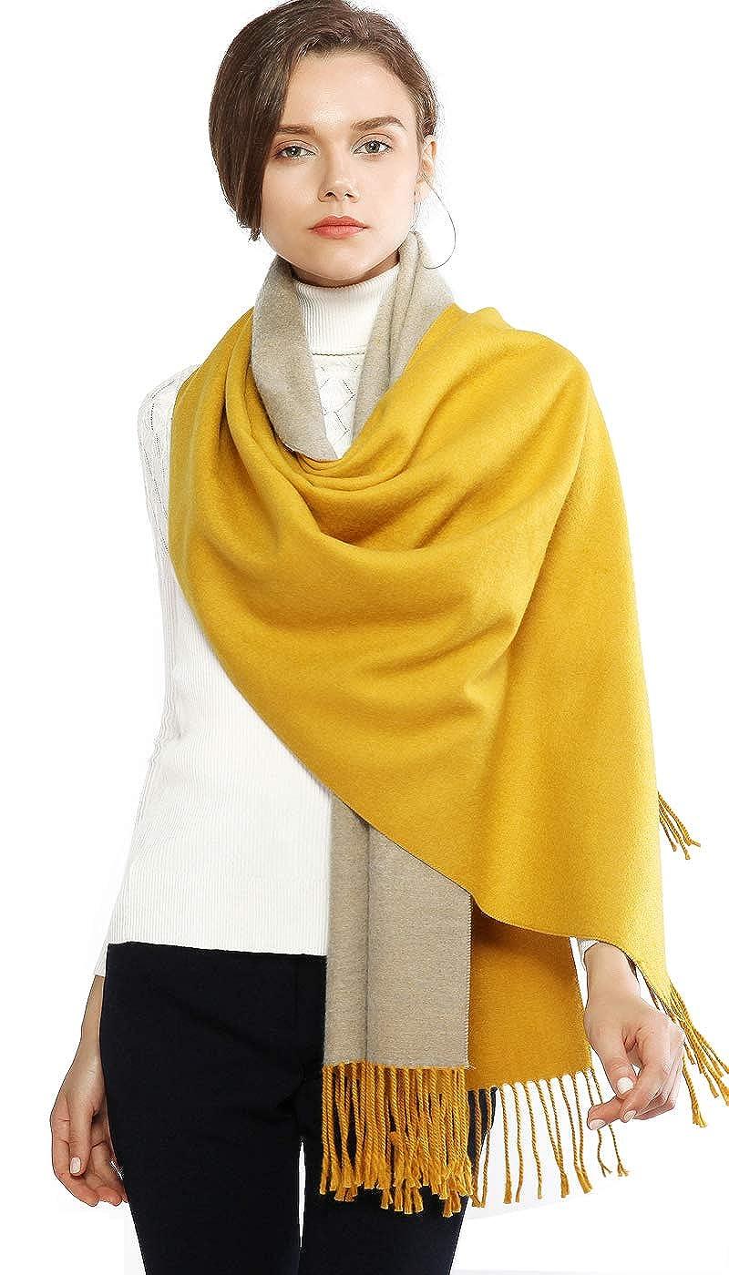 d542fa31322 RIIQIICHY Écharpe en Laine Cachemire Hiver Pashmina Châle Pour Les Femmes  Longues Grandes Écharpes Réversibles Chauds Épaisses