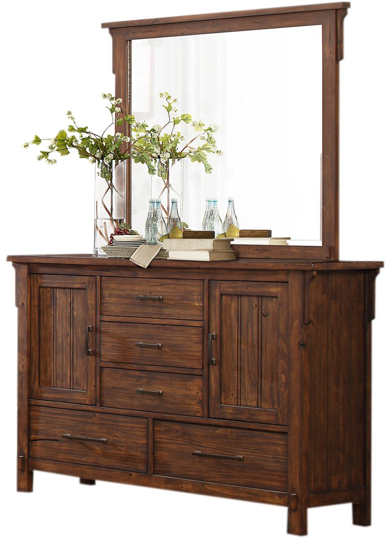 HEFX Thomasville Rustic Burnished Oak Dresser and Mirror Set -  - dressers-bedroom-furniture, bedroom-furniture, bedroom - 61BZ06px9pL -