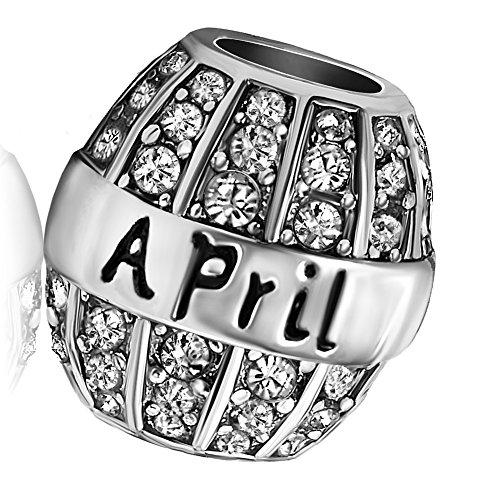 KunBead Birthday Birthstone Charm April Birthstone Charms Bead Bracelets Christmas (April Birthstone Pandora Charm)