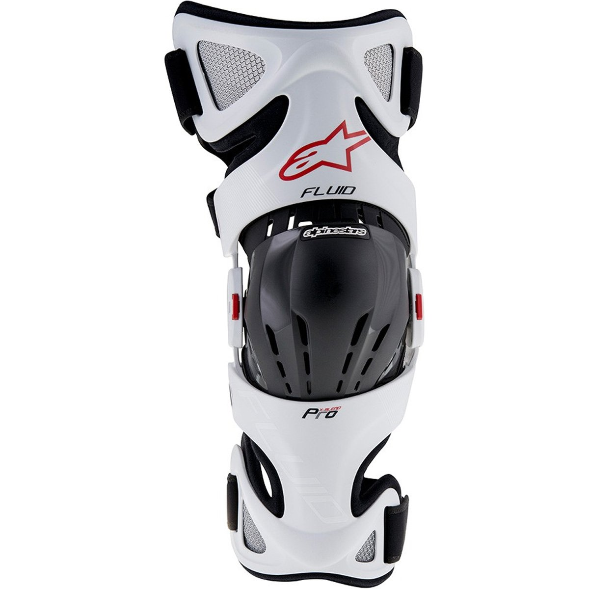 Alpinestars Unisex-Adult Fluid Pro Knee Brace Set (White/Black/Red, Small/Large )