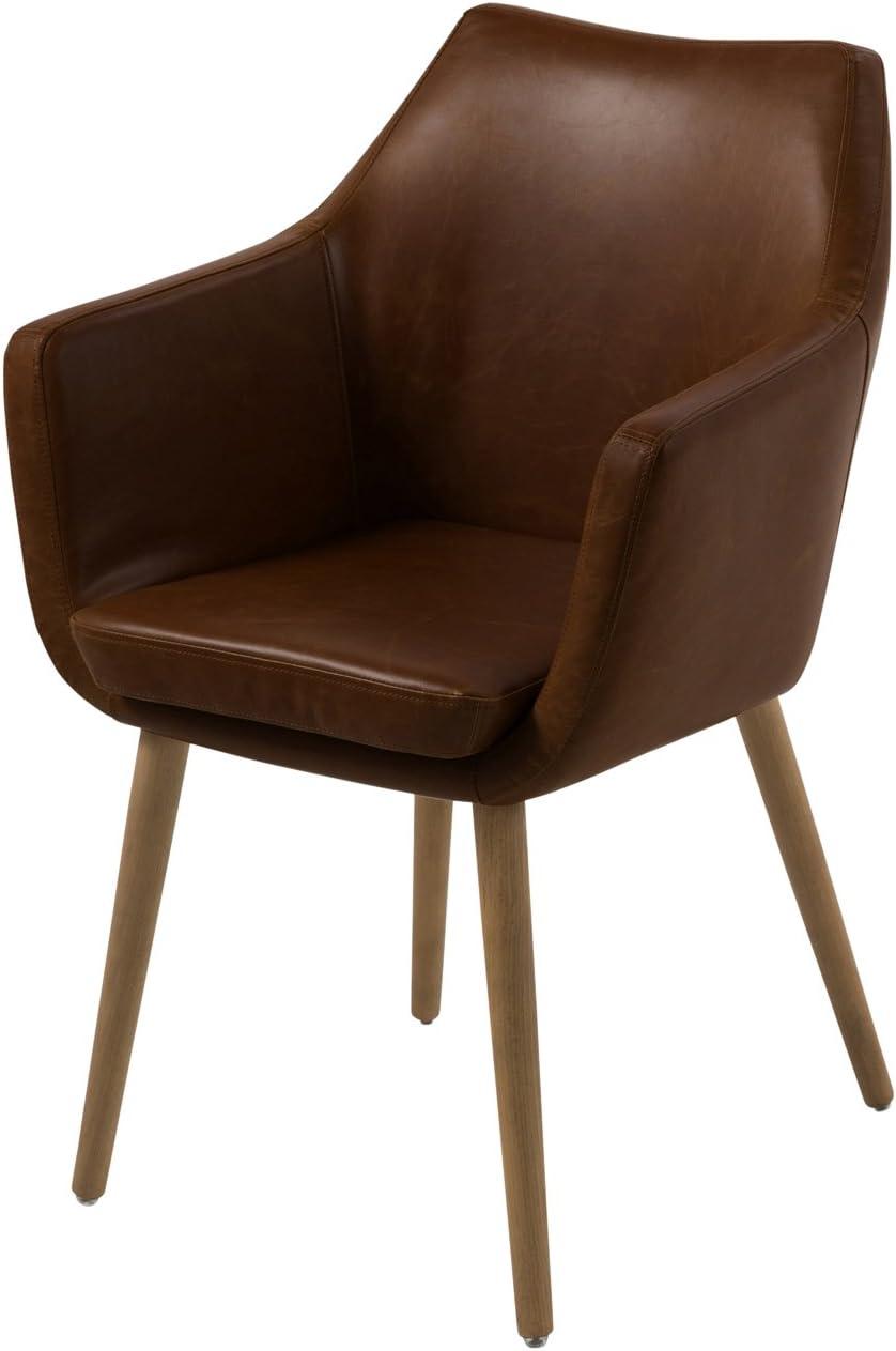 AC Design Furniture Lore - Silla con brazos (revestimiento de piel artificial, patas de roble), Marrón Marrón Oscuro cZMEeo
