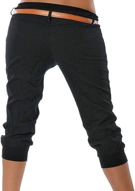 ShallGood Pantalones Capri para Mujer Pantalones Baggy Moda Color ...