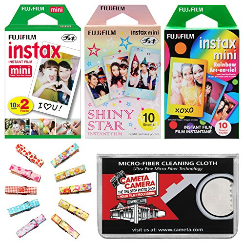 Fujifilm Instax Mini Starter Value Pack Instant Film (40 Color Prints) with Wood Peg Clips + Cleaning Cloth Kit