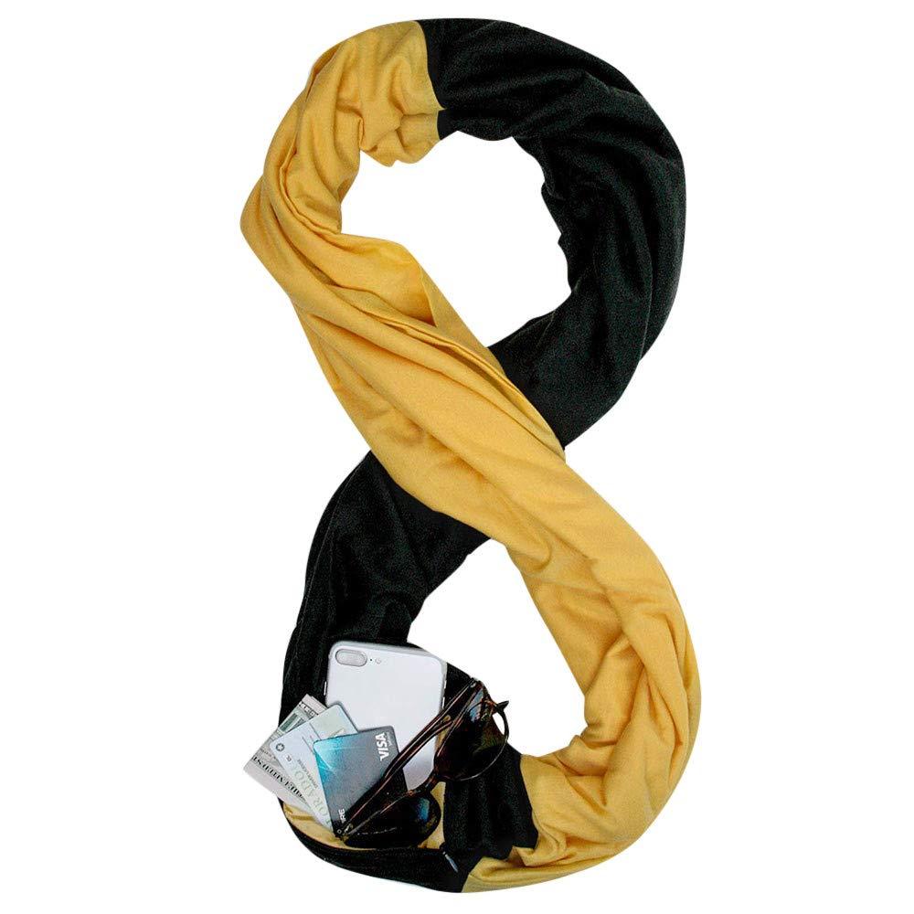 WensLTD Gift Women Loop Scarf Infinity Wrap Hidden Zipper Pocket Warm Travel Couple Scarves (Yellow) by WensLTD (Image #1)