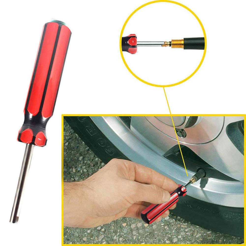 Red Black Valve Core Remover,dezirZJjx 2Pcs Car Truck Bike Screwdriver Air Valve Stem Core Tire Repair Remover Pry Tool