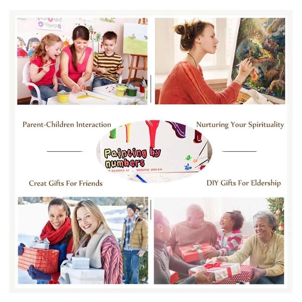 BYAMD 2er-Pack Malen nach Zahlen Kit Totenk/öpfe 40,6 x 40,6 cm Leinwand DIY /Ölgem/älde f/ür Kinder und Erwachsene Anf/änger mit Pinsel und Acrylfarben
