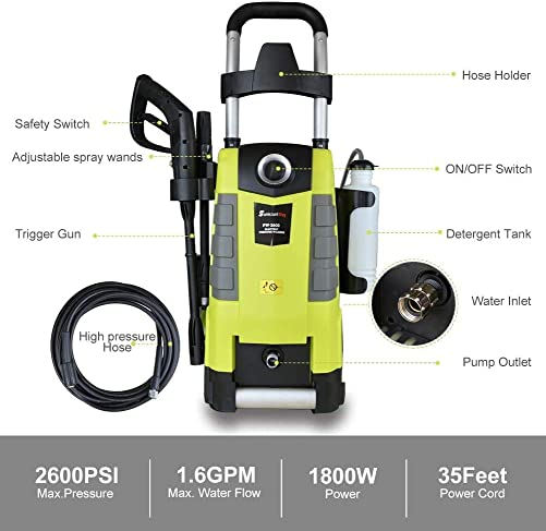 Electric Pressure Washer 2600PSI 1.6GPM Electric Power Washer with Spray Gun 25ft High Pressure Hose Adjustable Nozzle with Hose Reel