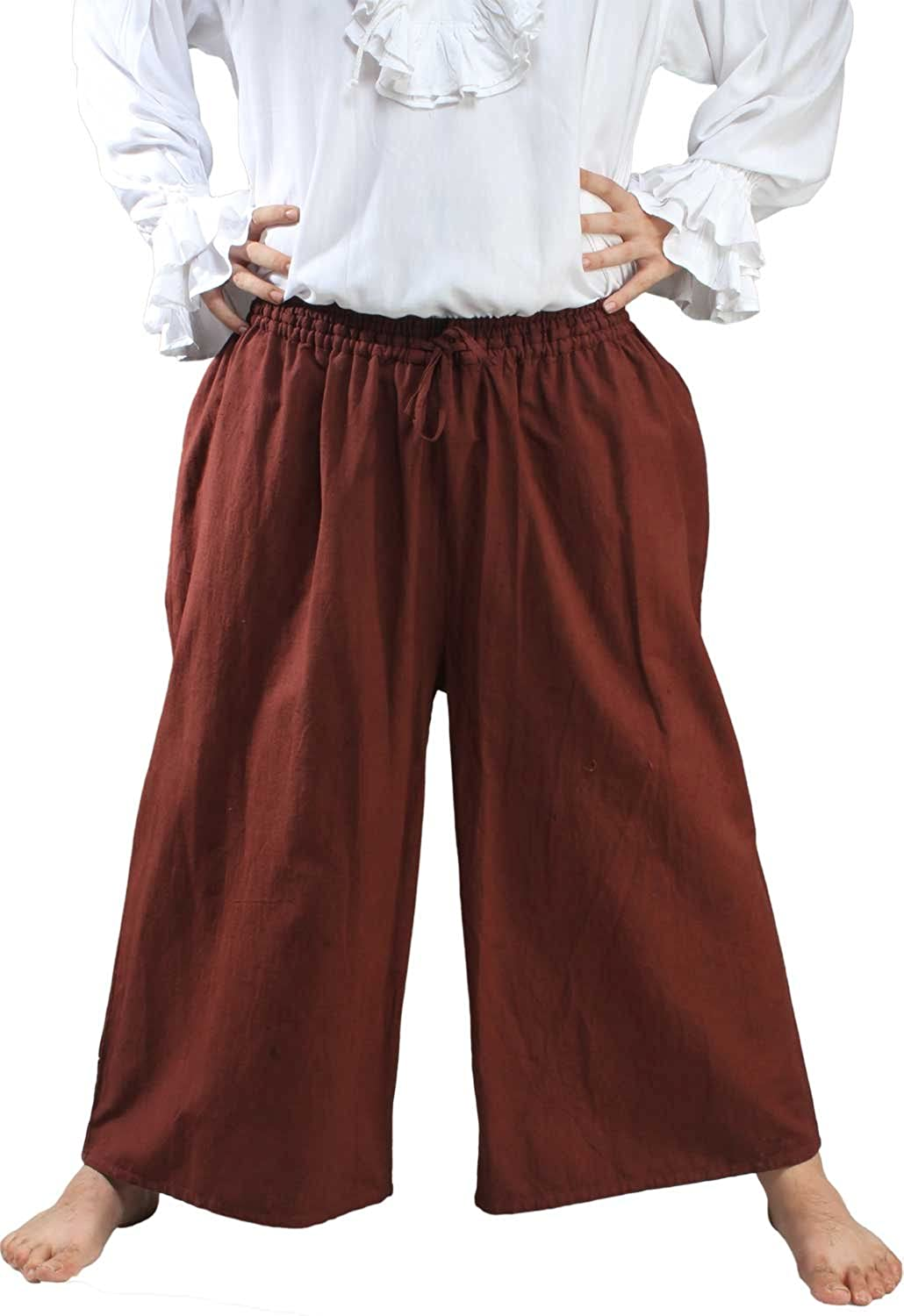 Deluxe Adult Costumes - Men's chocolate wide leg draw string pirate seamen slop pants by ThePirateDressing