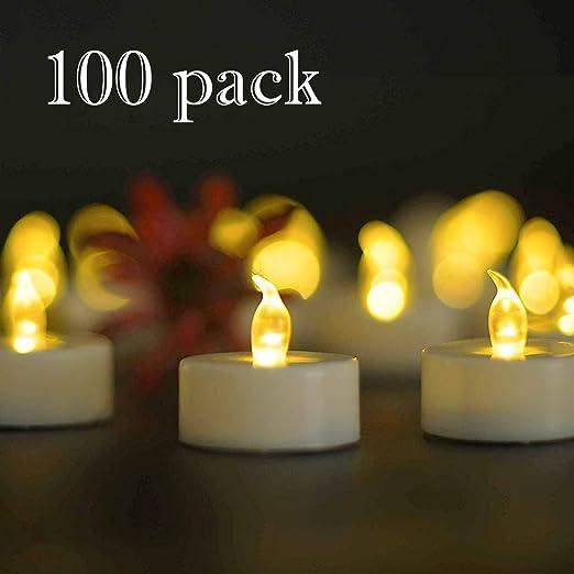 YIWER 100 unidades LED Velas Velas CR2032 pilas velas sin llama,Velas de té,Velas LED,Velas parpadeantes sin Llama,Velas Artificiales realistas a ...