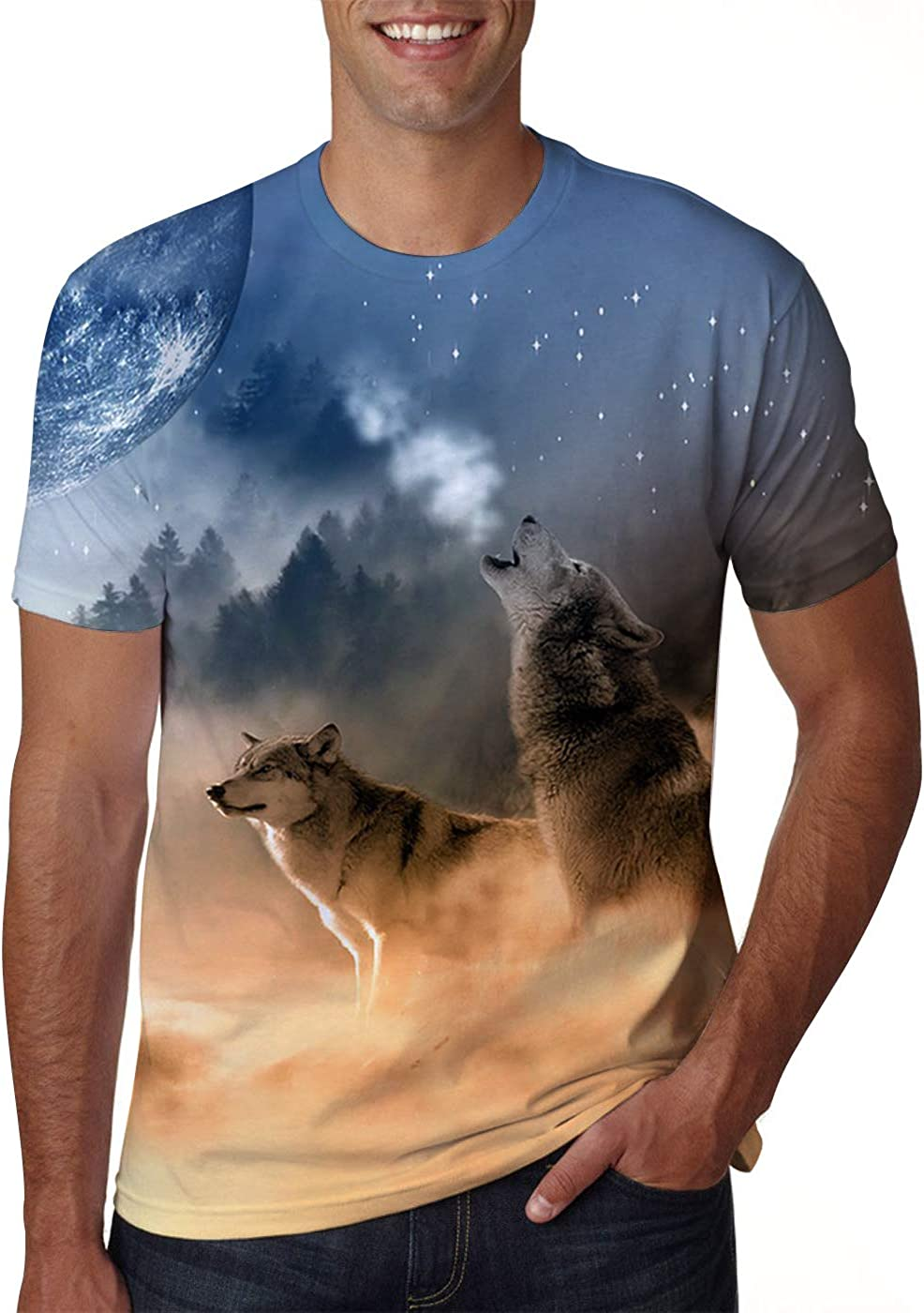 Idgreatim Unisex informale 3D Stampa Animalier Manica Corta T-Shirt Tees Graphic