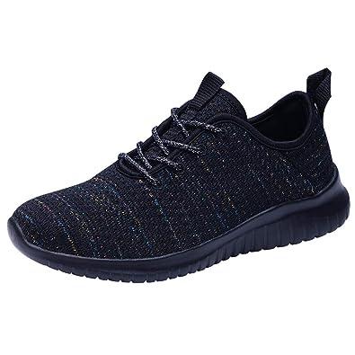 8280030c6cda TIOSEBON Women's Walking Shoes Casual Mesh Running Sneaker 5 US All Black