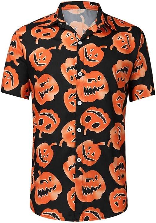 ღLILICATღ Hombre Halloween Camisa Estampado de Calabaza Manga Larga Manga Corta con Botón Fiesta Estilo Hawaiana Navidad Camisas: Amazon.es: Jardín