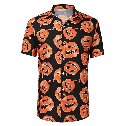 ღLILICATღ Hombre Halloween Camisa Estampado de Calabaza Manga ...