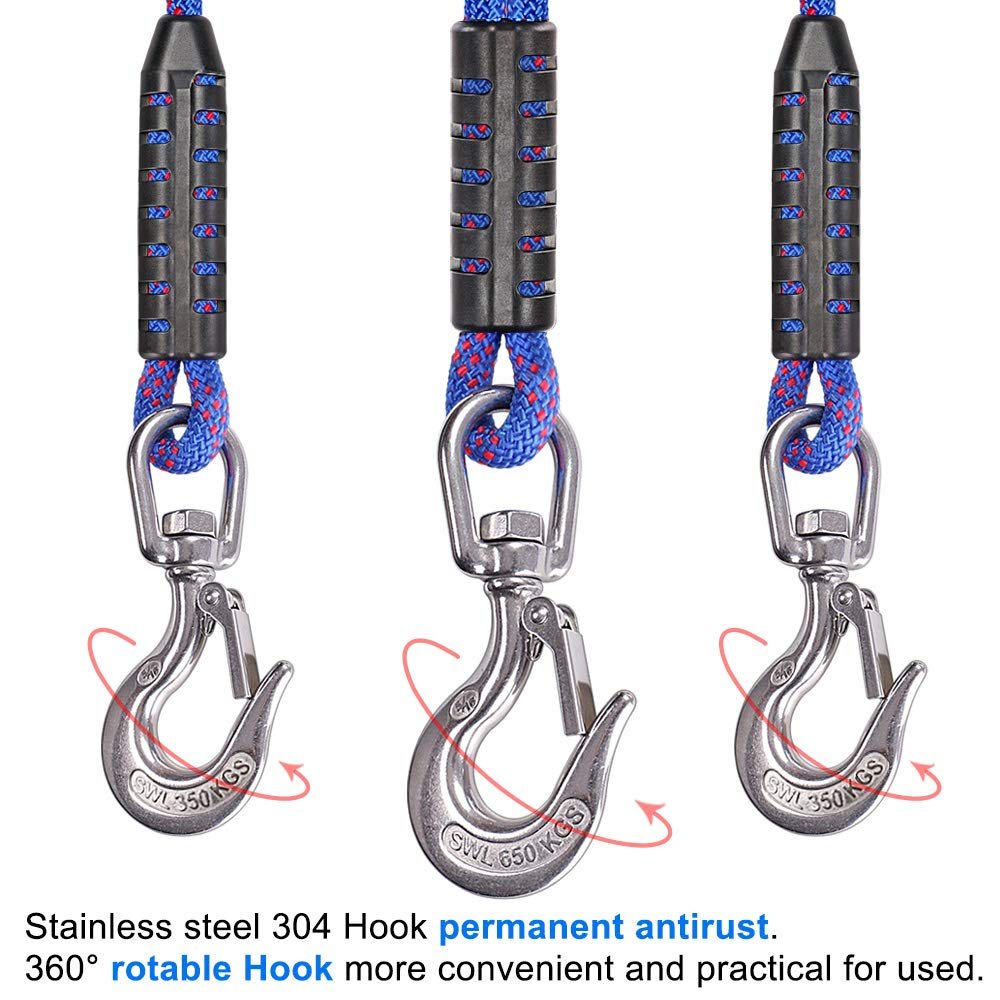 157 Inch, 2900 lbs SELEWARE Innovative Heavy Duty Boat Tow Harness with 3 Permanent Antirust SUS304 Stainless Steel 360/° Swivel Hook Fit for Larger Boats and Pontoons