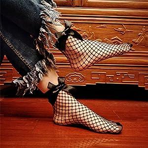 UNKE Womens Black Fishnet Socks Black Mesh Socks Ankle High 1 Pairs