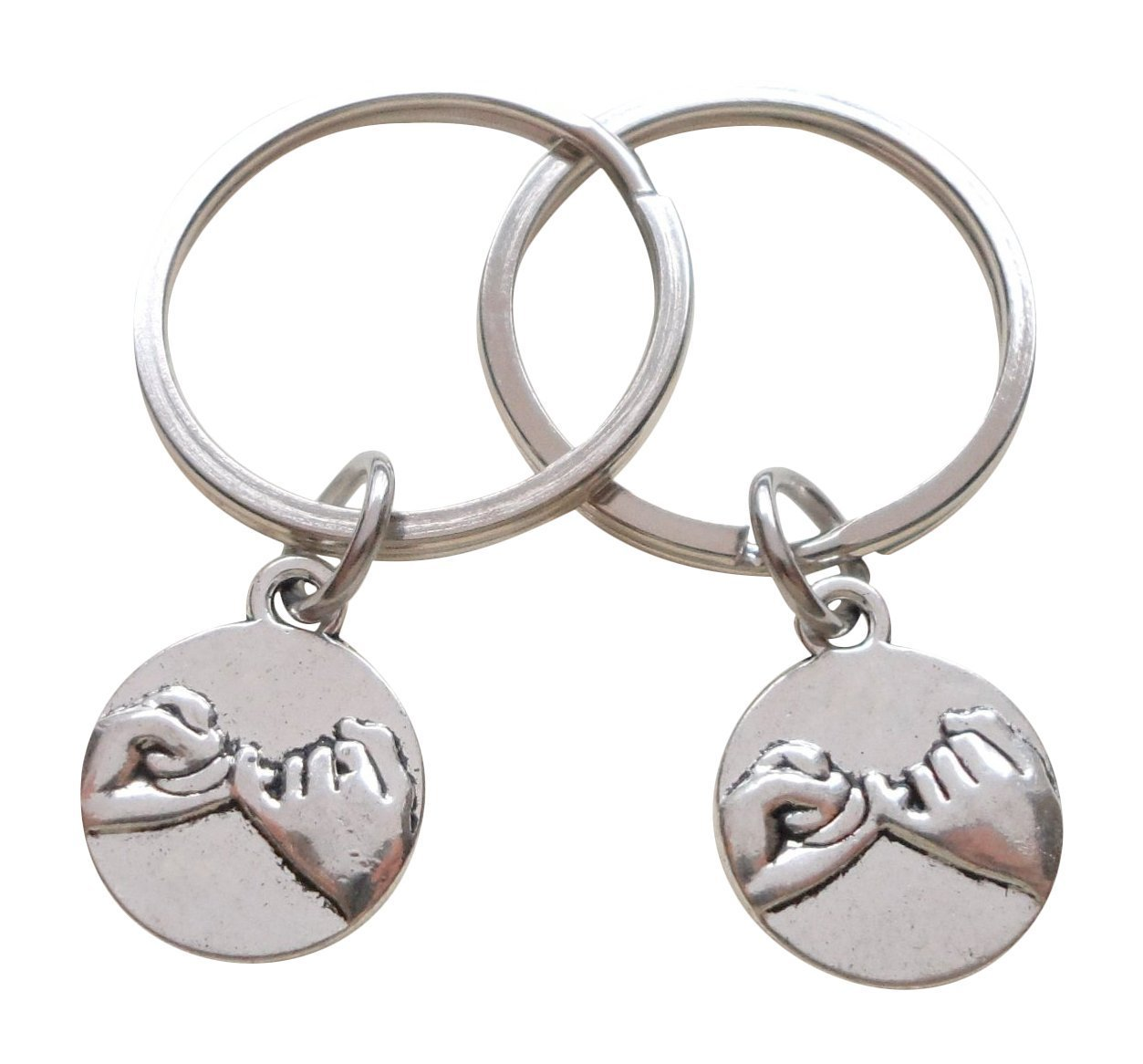Double Pinky Promise Charm Keychains; Couple Keychains, Promise Gift JewelryEveryday 32914000277