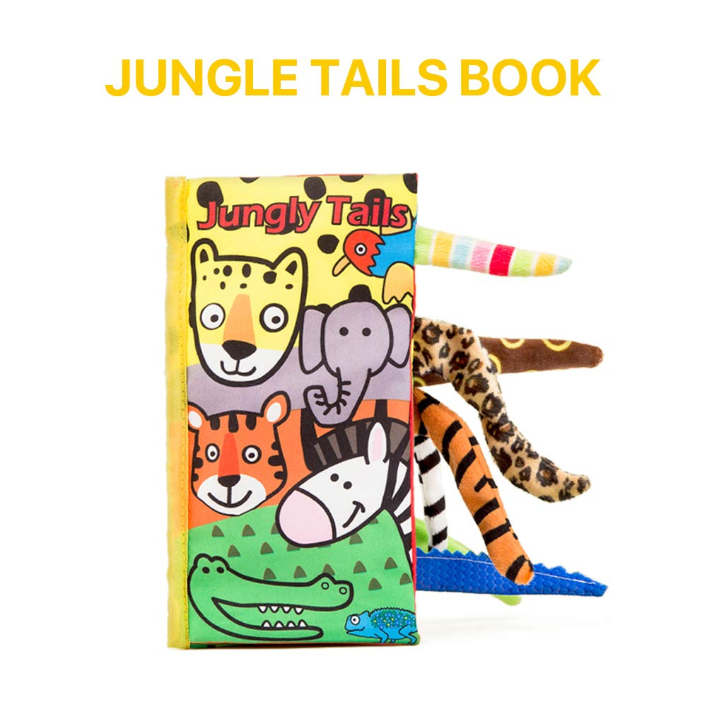 BeautyLifee Soft Cloth Baby Books Fabric Animal Tail Cloth Book Early Educational Toy for Toddler Farm Tail Infants Babies