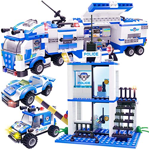 EXERCISE N PLAY 756pcs City Police, City Police Station Building Sets, City Sets, Police Sets, Mobile Command Center Building Toy with Cop Car & Patrol Vehicles for Boys and Girls(Contain -