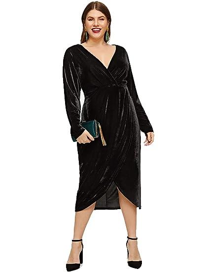b257fa952ca0e ESPRLIA Women's Plus Size High Waist Velvet Sexy Faux Wrap Pencil Cocktail  Midi Dresses