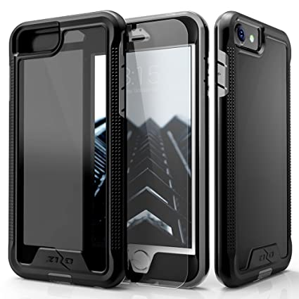 quality design 4c777 57f8e Zizo Ion Series Compatible with iPhone 8 Case Military Grade Drop Tested  with Tempered Glass Screen Protector iPhone 6 iPhone 7 Case Black Smoke