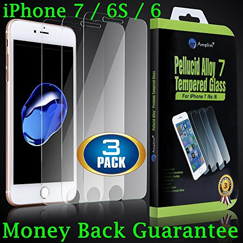 Premium iPhone 7 6S 6 Tempered Glass Screen Protector. 3-Pack Amplim Case Friendly, Oleophobic, Anti Fingerprint, Scratch Proof, 3D Touch Ultra Clear HD, Invisible Front Cover / Film / Shield