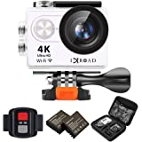 IXROAD Action Cam 4K HD WiFi Sport Action Camera 170° Grandangolare 2.0 Pollici con 2 x 1050mAh Batterie + Telecomando + Pacchetto Portatile + Kit Accessori ( Bianco )