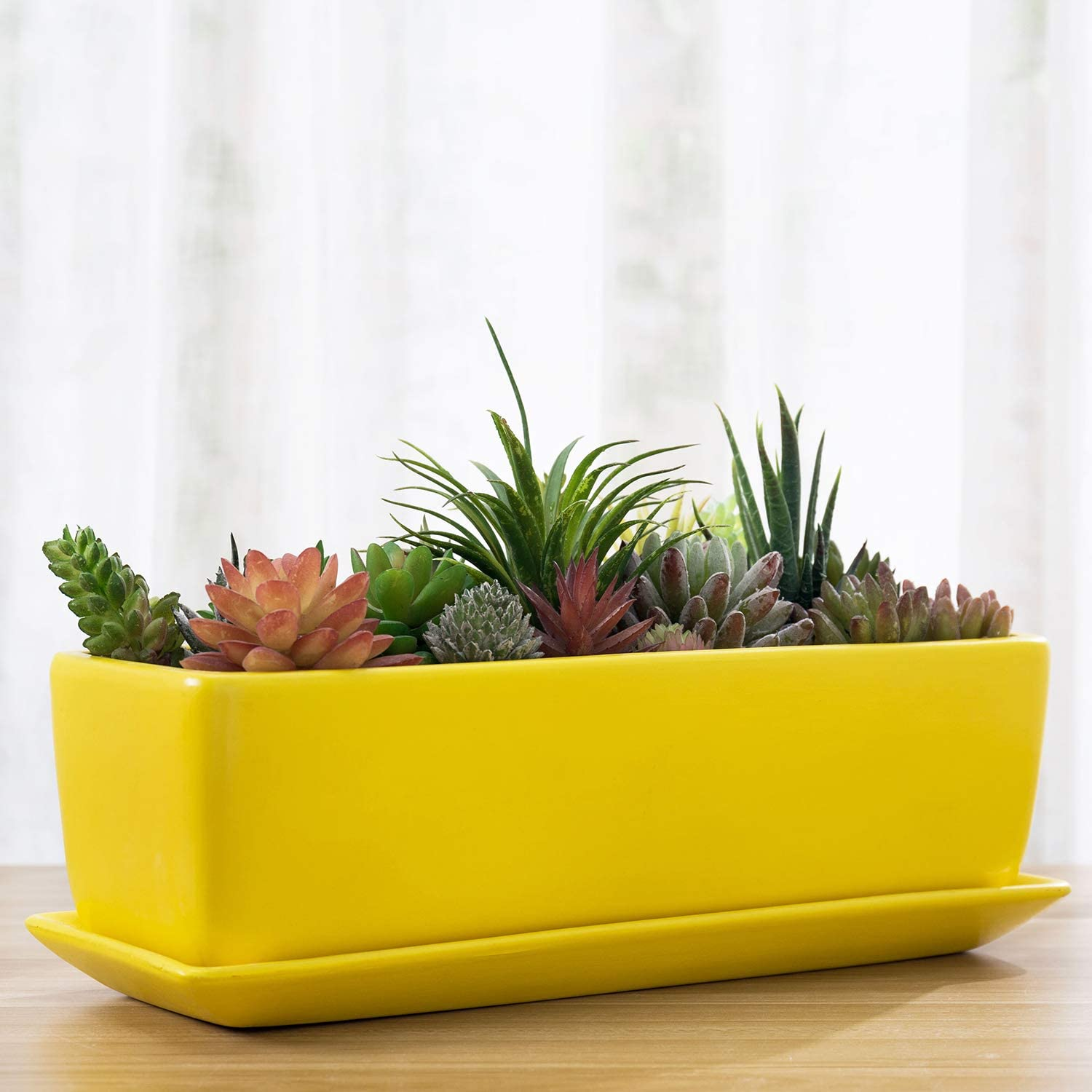 MyGift 14-inch Yellow Rectangular Modern Ceramic Succulent Window Box Planter Pot with Saucer