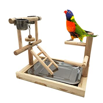 Borangs Parrot Playstand Bird Playground Wood Perch Gym Training Stand Playpen Bird Toys Exercise Playgym for Parakeet Conure Cockatiel Small Birds Cage Accessories Exercise Toy Include a Tray