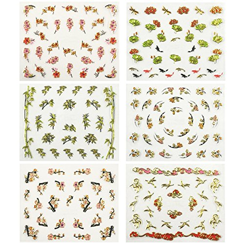 allydrew Asian Inspired Nail Art Self-Adhesive Stickers Nail Decals, Set of 6 by allydrew