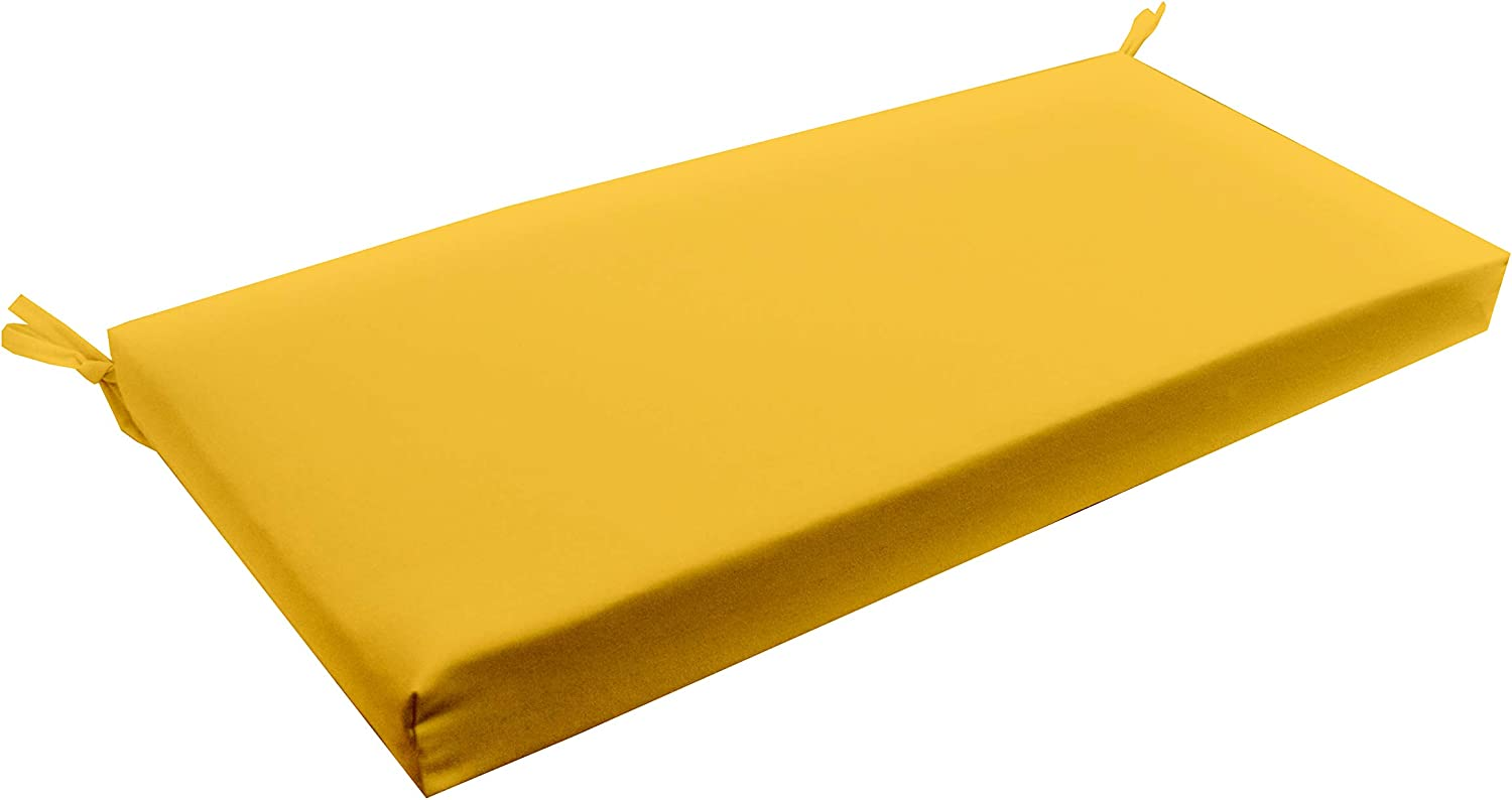 Resort Spa Home Decor Solid Yellow 3 Thick Foam Swing Bench Glider Cushion with Ties and Zipper – Indoor Outdoor Fabric – Choose Size 72 x 18