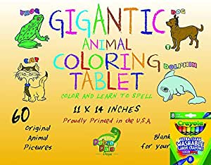 Debra Dale Designs Gigantic Animal Preschool Coloring Book for Kids Crayola Large Washable Crayons - Great Birthday Holiday Gifts for Kids Package - Keep Kids Entertained for Many Hours! Toddlers and their Parents LOVE this Coloring Book and Crayon Set!