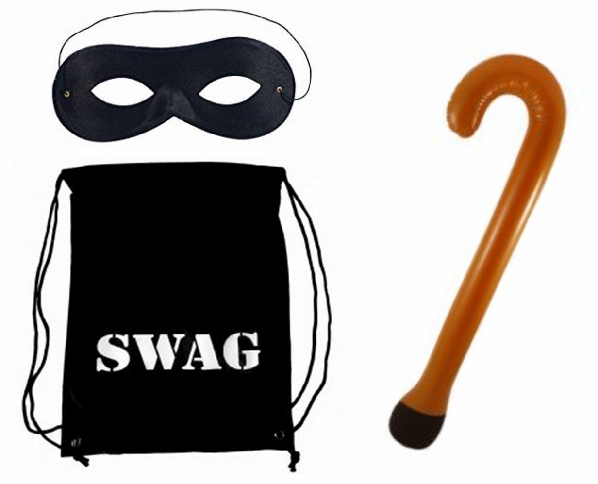 Gangster Granny Burglar Mask And Swag Bag Stick Book Week Fancy Dress Outfit