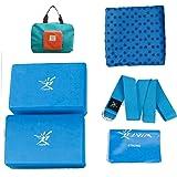 Kit per yoga portatile da viaggio, 7 pezzi che includono tappetino pieghevole in schiuma spesso 4mm, 2blocchi, 1cinghia per yoga, 1elastico, 1 asciugamano antiscivolo per tappetino e 1pratica borsa
