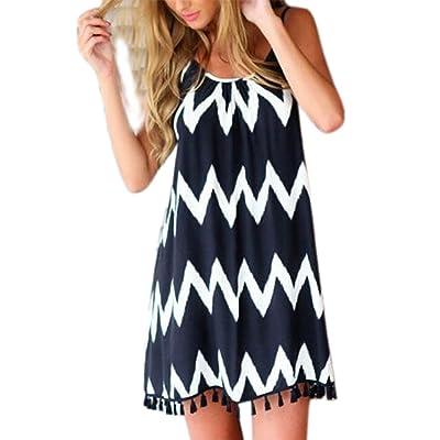 Hellomiko Femmes Summer Baggy Beach Dress, rayures ondulées imprimé robe de plage sans bretelles