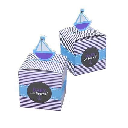 Kingsley 50pz Bomboniere Barca a vela Candy cajas regalo cajas Cubo portaconfetti Segnaposto Tema Viaje Mundo