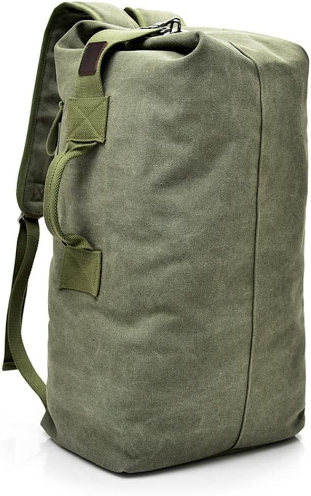 Outdoor Travel Men Backpack, Hiking Camping Canvas Vintage Neutral Rucksack High Capacity Satchel Hiking Bag