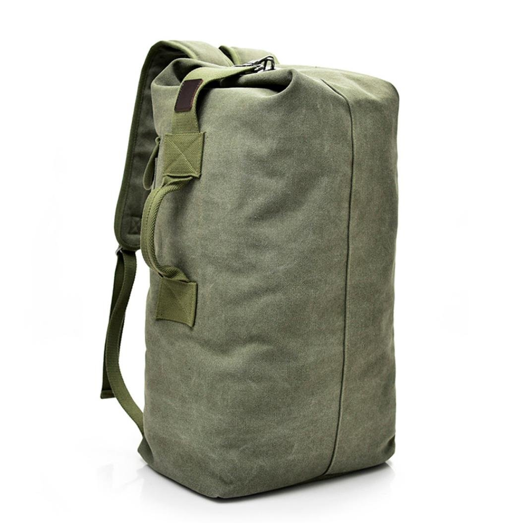 Outdoor Travel Men Backpack, Hiking Camping Canvas Vintage Neutral Rucksack High Capacity Satchel Hiking Bag (Army Green, L)