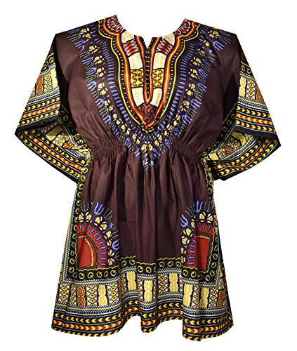 Elastic Shirt Cotton Red Dress Waist Bright Colors Traditional Brown Mini Decoraapparel Womens Dashiki wear IXY1O